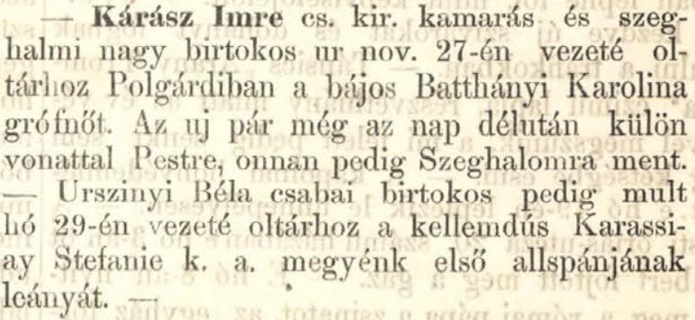 Békés, 1869. december 11.