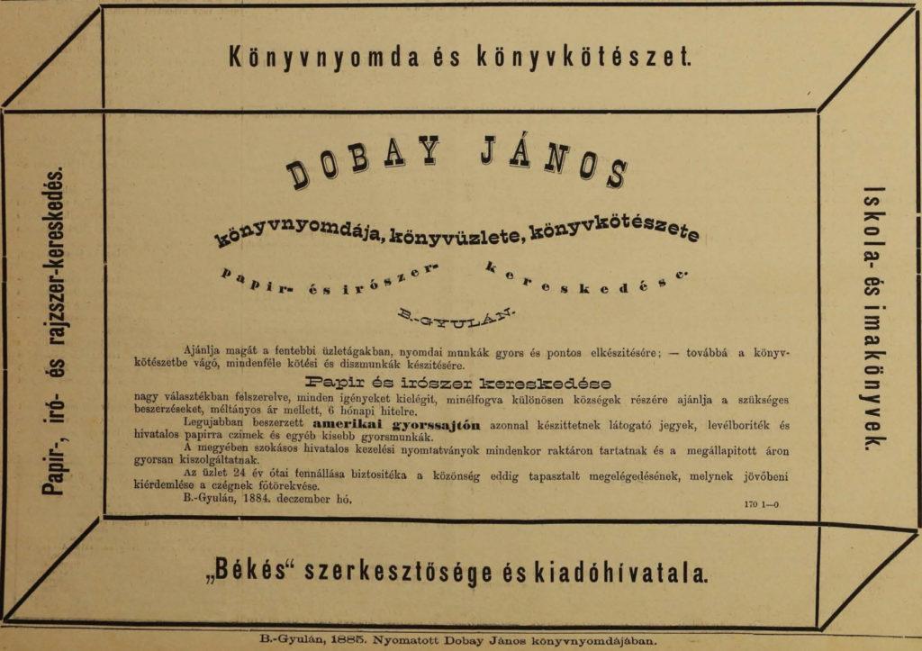 Dobay János hirdetése