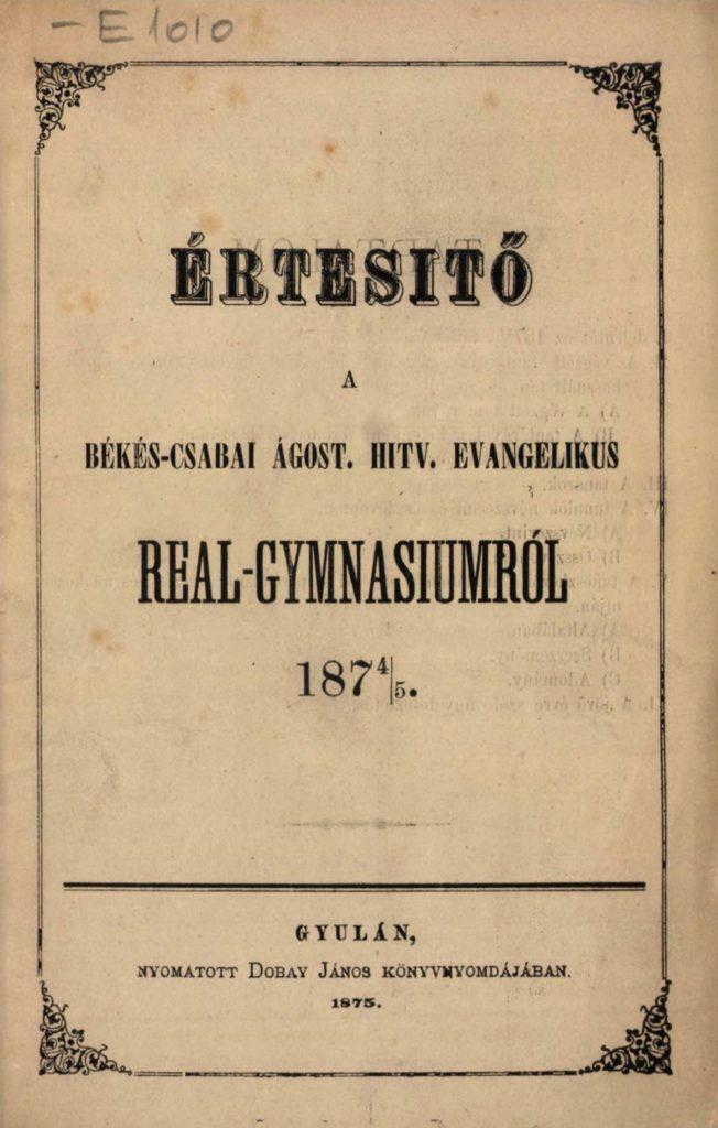 A Real-Gymnasium értesítője 1874/75