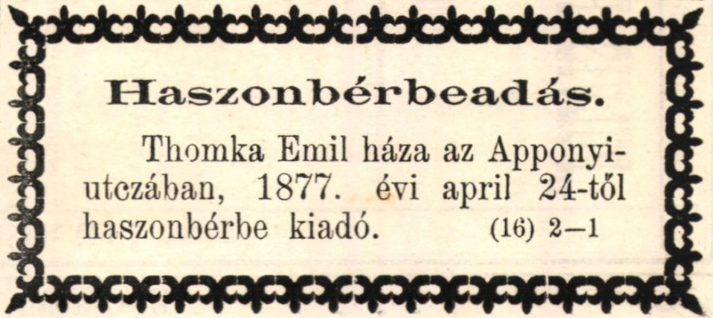 Thomka Emil háza kiadó