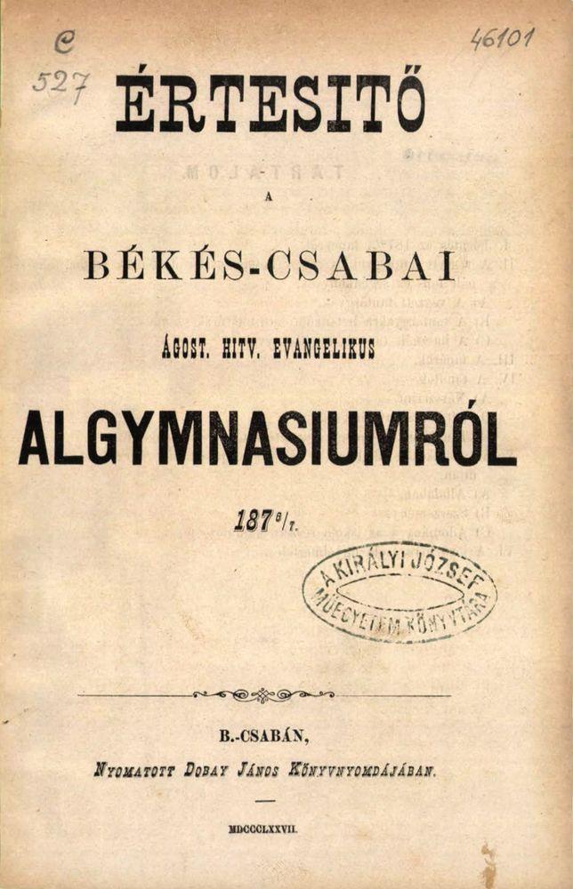 Evangélikus Algimnázium értesítő 1876-77