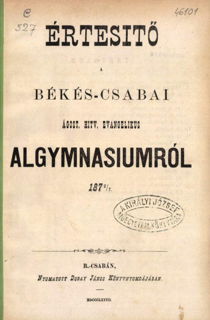 Algimnáziumi értesítő (1876-77)