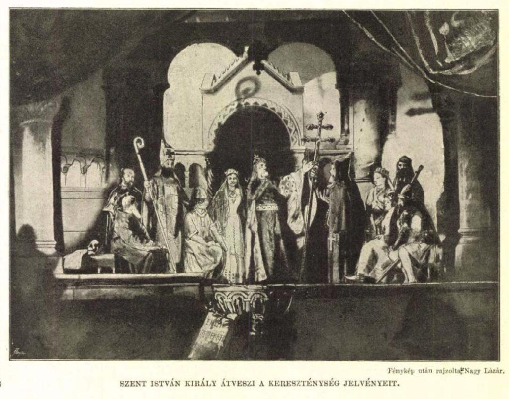 Szent István átveszi a kereszténység jelvényeit