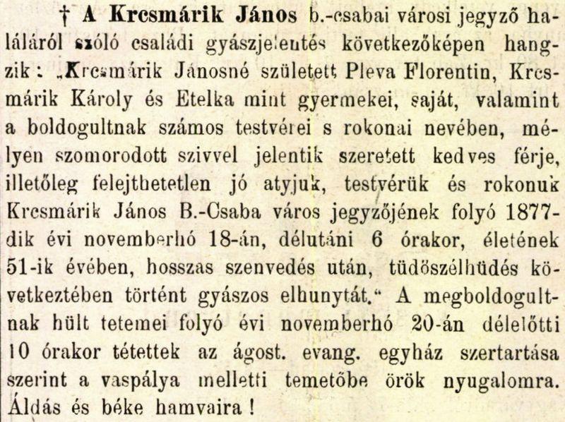Krcsmárik János gyászjelentése