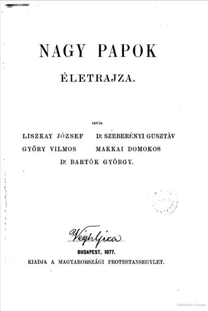 Nagy papok életrajza c. kötet címoldala