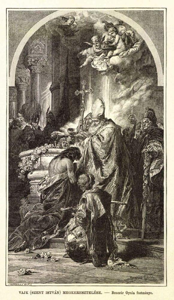Szent István megkeresztelése. Benczúr Gyula festménye