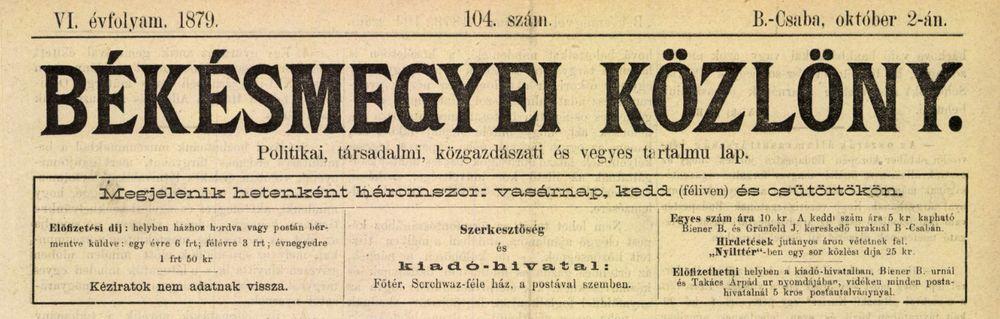 Békésmegyei Közlöny, 1879. október 2.