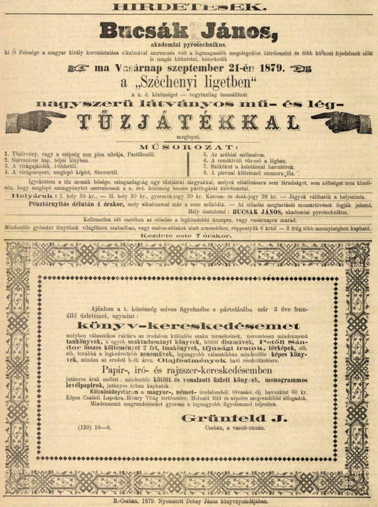 Hirdetés a Békésmegyei Közlöny 1879. szeptember 21-i számából