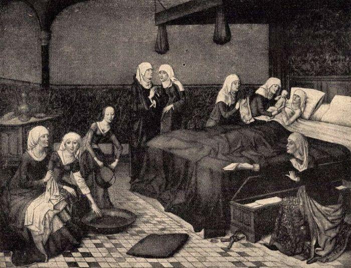 Középkori angol hálószoba gyermekáldás után