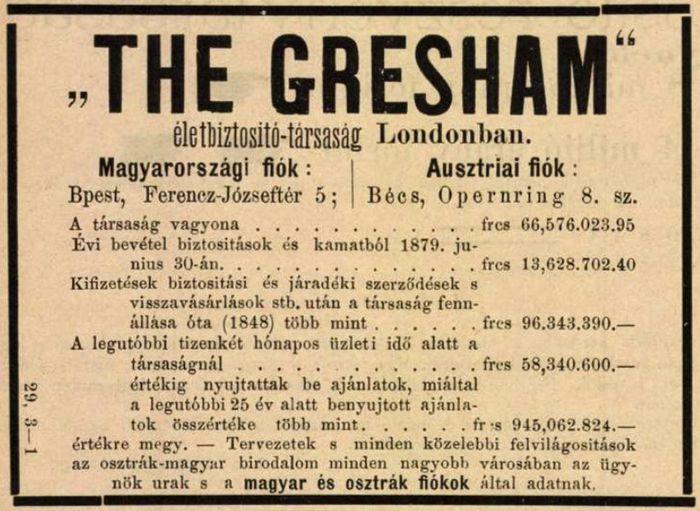 A Gresham biztosító hirdetése